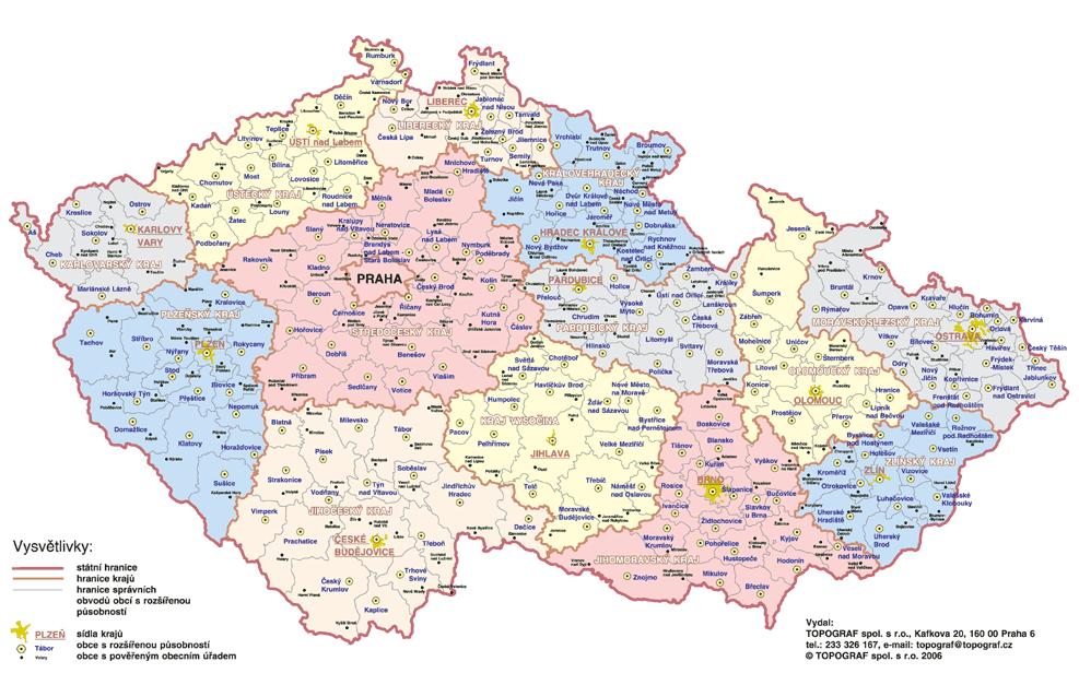 kranice kraju mapa cr