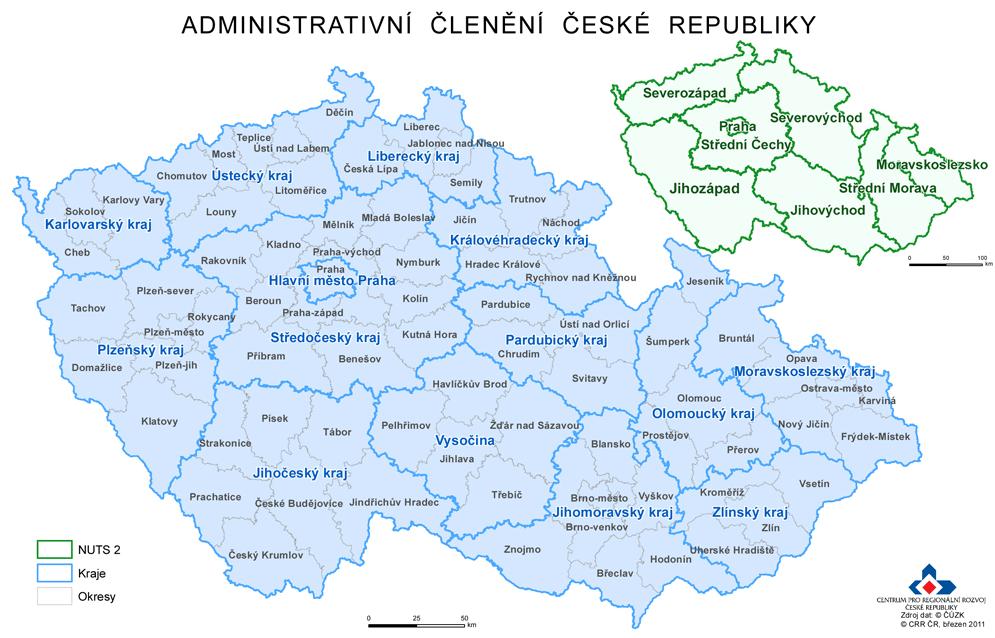 Mapa okresy české republiky