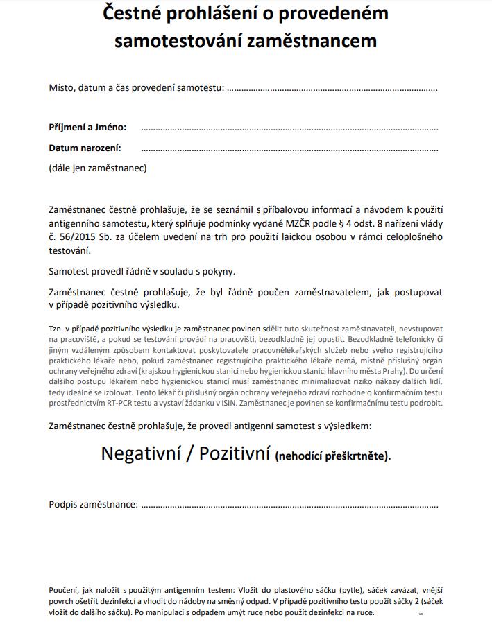 Čestné prohlášení o provedeném samotestování zaměstnancem