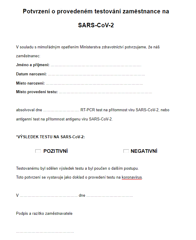 Potvrzení o provedeném testování zaměstnance na SARS-CoV-2