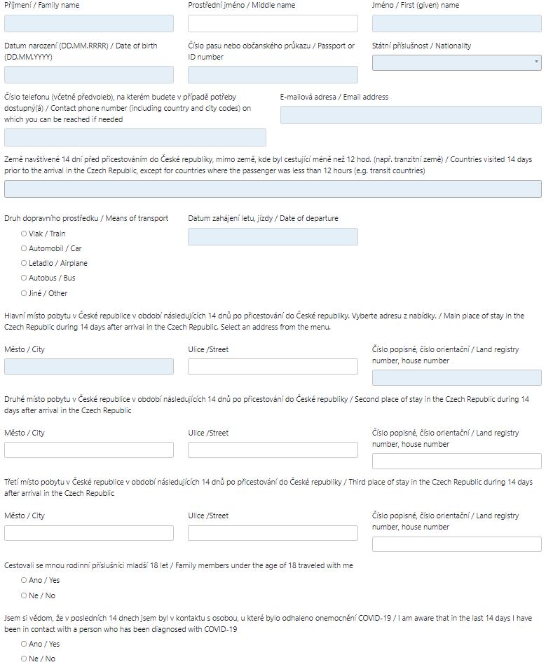 Příjezdový formulář